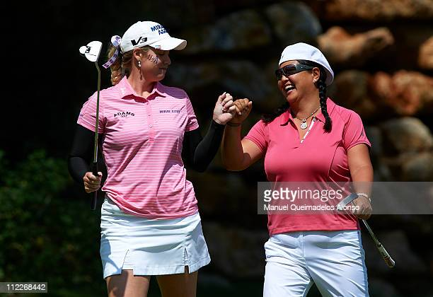 Britanny Lincicome and Cristina Kim of USA celebrate on the 14th hole during the third round of the European Nations Cup at the La Sella Golf Denia...