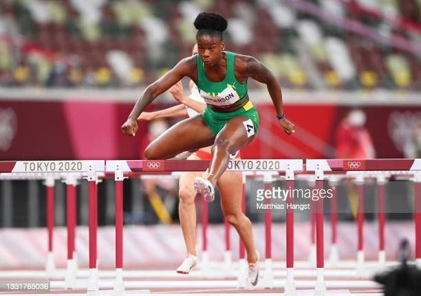 Britany Anderson of Team Jamaica competes in the Women's 100m Hurdles Semi-Final on day nine of the Tokyo 2020 Olympic Games at Olympic Stadium on...