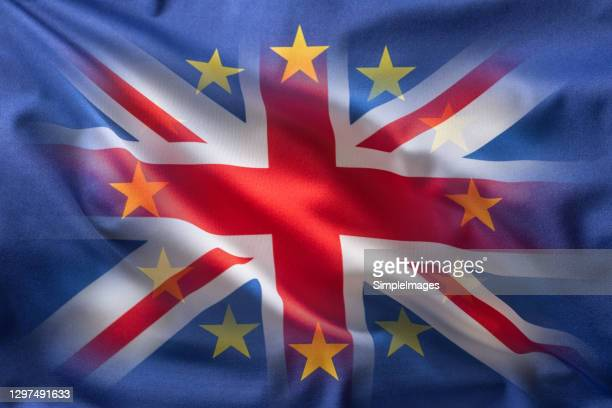 brithish uk flag and european uion flag - collage. - referendum stock pictures, royalty-free photos & images