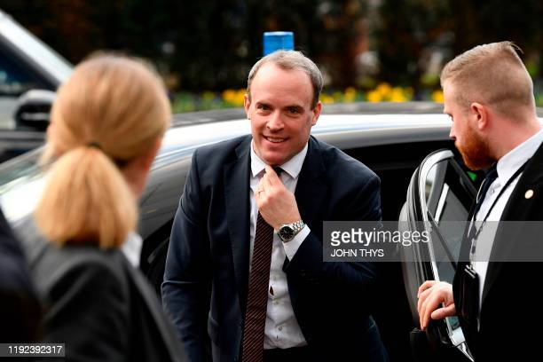 Britian's Foreign Secretary Dominic Raab arrives for a European Union Foreign Affairs ministers' meeting at the EU headquarters in Brussels on...