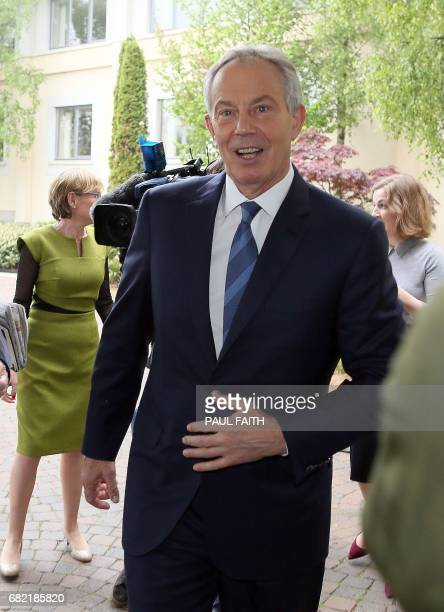 Britian's former Prime Minsiter Tony Blair arrives to attend the European People's Party group bureau meeting at the Druids Glen Hotel in Wicklow...
