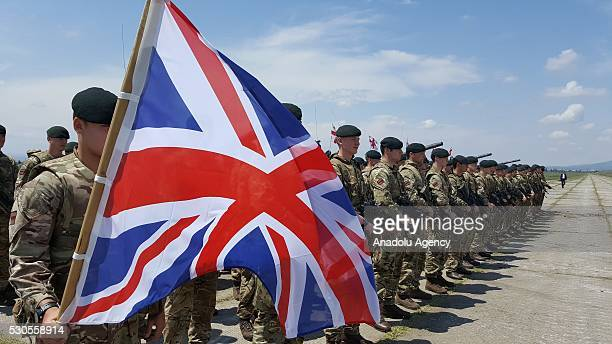 British 150 servicemen attend an opening ceremony of the joint military exercise at the Vaziani training area outside Tbilisi in Georgia on May 11...