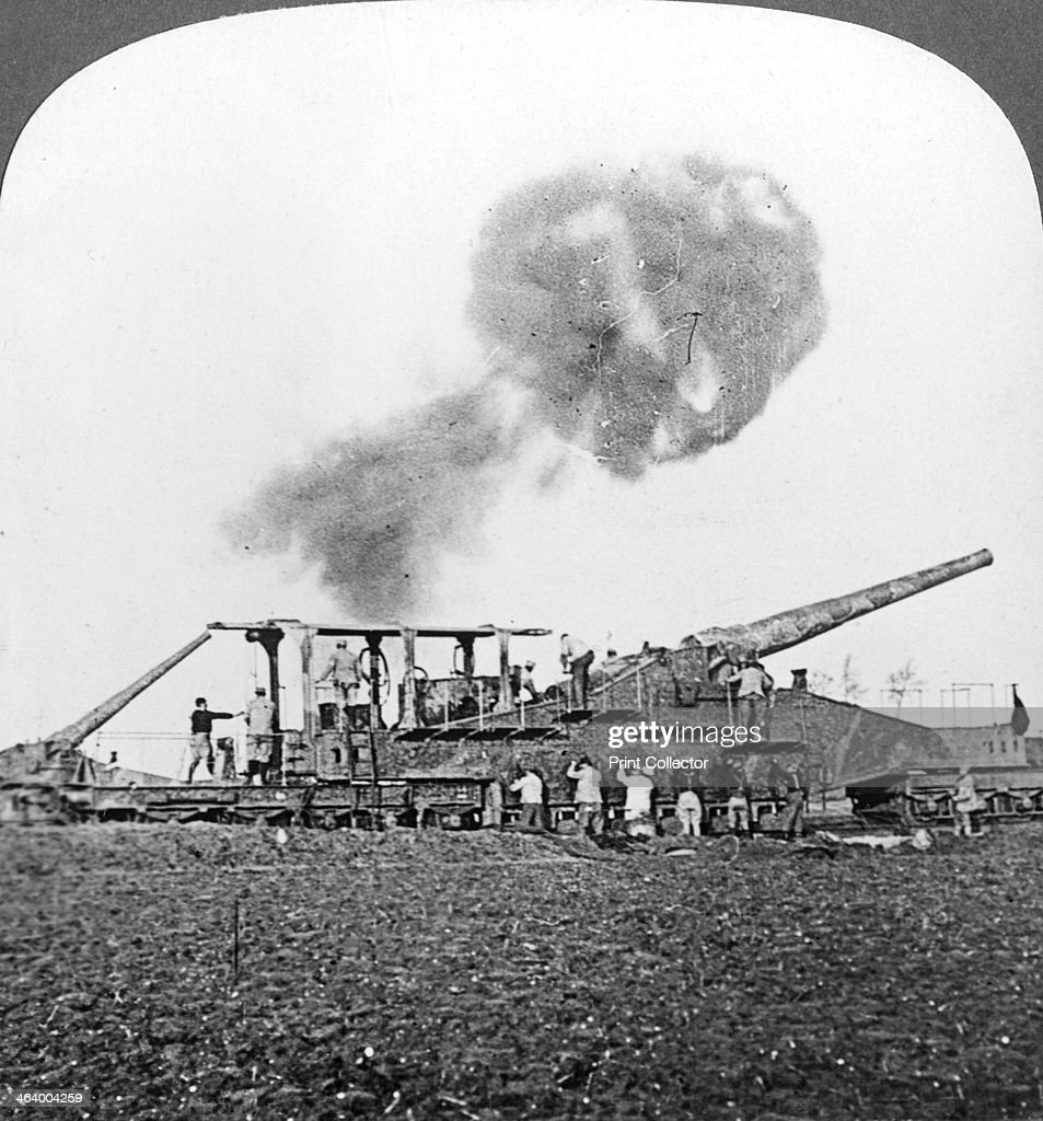British 16 inch railway guns in action, World War I, c1914
