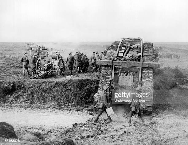 British 40th Division tanks passing captured German guns from the Battle of Cambrai Graincourt les Havrincourt France November 23 1917 They are on...