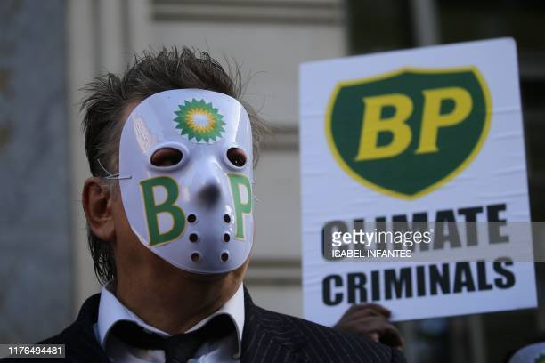 British activist and businessman Joe Corre gestures during a protest action to highlight the exploitation of the West Papua rainforest and the...