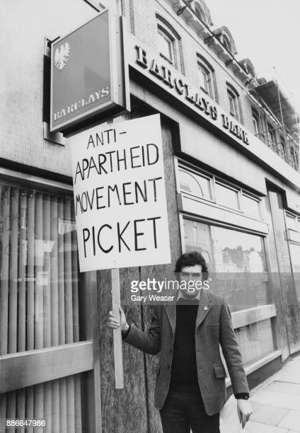 British activist and politician Peter Hain leads an anti-apartheid demonstration outside Barclays Bank in Richmond Road, Putney, London, 20th January...