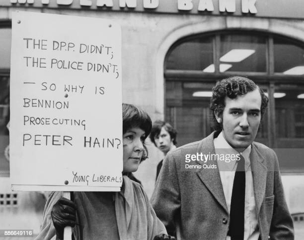 British activist and President of the Young Liberals Peter Hain arrives at Bow Street Magistrates Court in London on private summonses brought by...