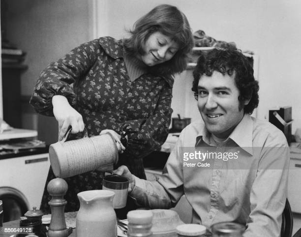 British activist and President of the Young Liberals Peter Hain having breakfast with his wife Patricia at their home in Putney London before his...