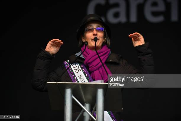 British activist Helen Pankurst gives a speech during the March4Women event London on March 4 2018 Demonstrators march through central London today...