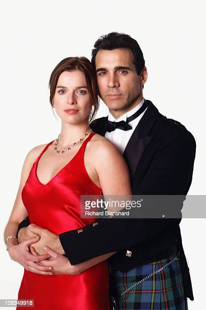 British actor Adrian Paul as Immortal warrior Duncan MacLeod and Dutch actress Thekla Reuten as his wife Anna Teshemka in a publicity still for the...