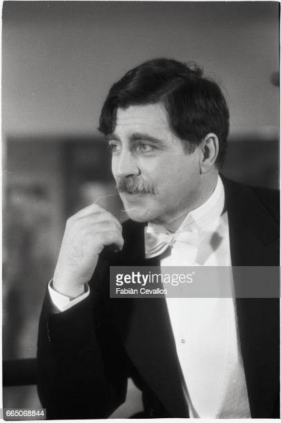 British actor Alan Bates wears a tuxedo on the set of American director James Ivory's 1981 movie Quartet set in the twenties