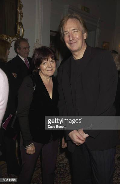 British actor Alan Rickman and partner Rima Horton attend the afterparty for the play 'Dance of Death' by August Strindberg at the Swedish Embassy on...