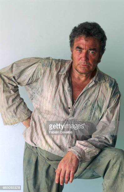 British actor Albert Finney poses for a portrait on the set of the 1996 German television miniseries Nostromo directed by Alastair Reid and also...