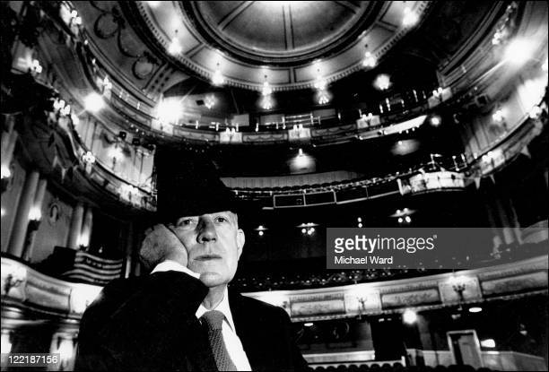 British actor Alec Guinness in a theatre 1985