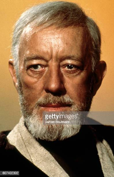 British actor Alec Guinness on the set of Star Wars Episode IV A New Hope written directed and produced by Georges Lucas