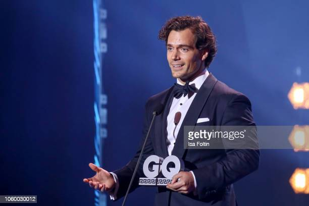 British actor and award winner Henry Cavill is seen on stage during the GQ Men of the Year Award show at Komische Oper on November 8 2018 in Berlin...