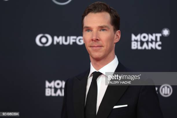 British actor and ceremony host Benedict Cumberbatch poses on the red carpet before the 2018 Laureus World Sports Awards ceremony at the Sporting...