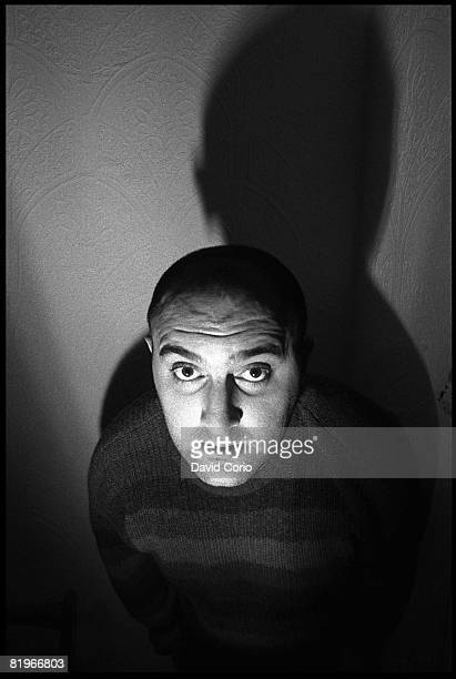 British actor and comedian Alexei Sayle poes for a portrait on November 28 1982 at his childhood home in Liverpool England