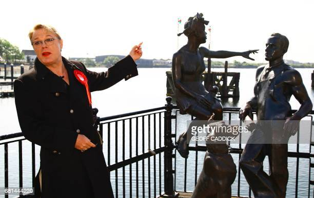 British actor and comedian Eddie Izzard poses for a photograph as he attends a Labour general election campaign event in Cardiff on May 10 2017...