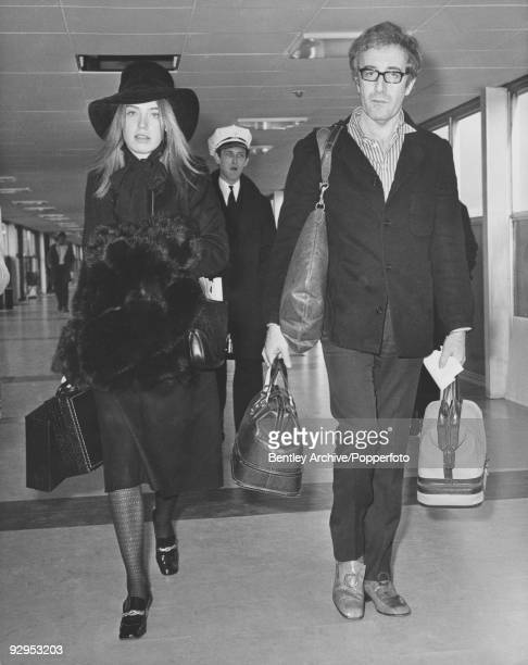British actor and comedian Peter Sellers arrives at London's Heathrow Airport accompanied by Australian fashion model Miranda Quarry 10th February...