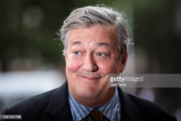 British actor and comedian Stephen Fry arrives at Westminster Abbey for a memorial service for theatre great Sir Peter Hall OBE on September 11, 2018...