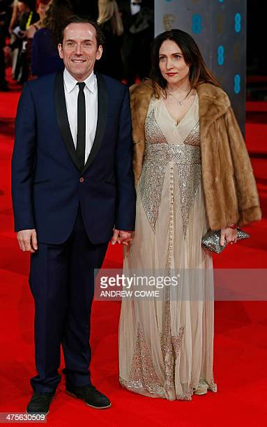British actor and director Ben Miller and his wife television producer Jessica Parker arrive on the red carpet for the BAFTA British Academy Film...