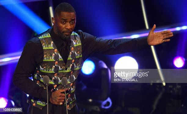 British actor and event host Idris Elba wearing a Gareth Southgate waistcoat during The Best FIFA Football Awards ceremony on September 24 2018 in...