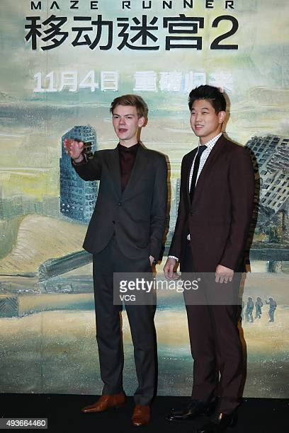 British actor and musician Thomas Sangster and KoreanAmerican actor Ki Hong Lee attend a press conference of the 2015 American dystopian science...
