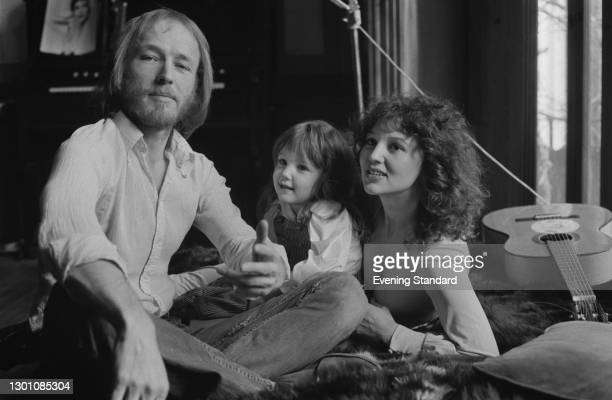 British actor and singer Mike Sarne with his wife Tanya and their daughter Claudia, UK, March 1973. Tanya later founded the fashion label Ghost.