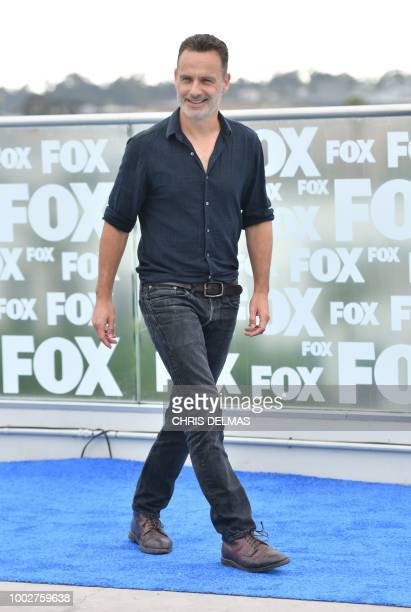British actor Andrew Lincoln arrives for 'The Walking Dead' photo call at ComicCon International 2018 in San Diego California on July 20 2018