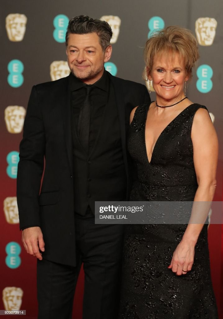 British actor Andy Serkis (L) poses on the red carpet upon arrival at the BAFTA British Academy Film Awards at the Royal Albert Hall in London on February 18, 2018. / AFP PHOTO / Daniel LEAL