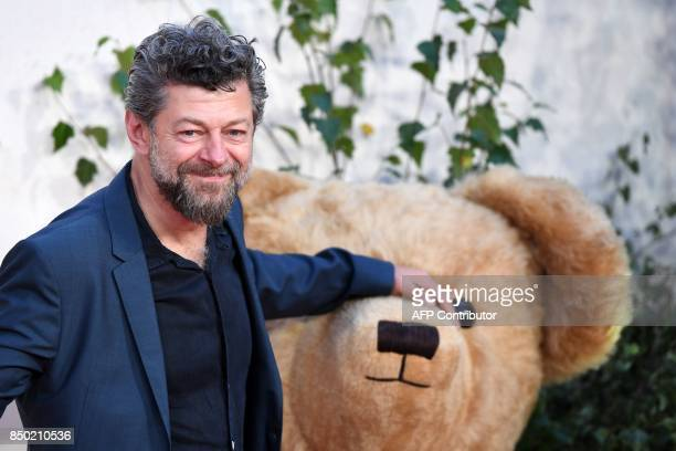 British actor Andy Serkis poses upon arrival for the World Premiere of the film 'Goodbye Christopher Robin' in London on September 20 2017 / AFP...