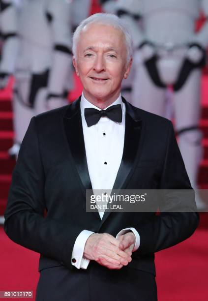 British actor Anthony Daniels poses on the red carpet for the European Premiere of Star Wars The Last Jedi at the Royal Albert Hall in London on...