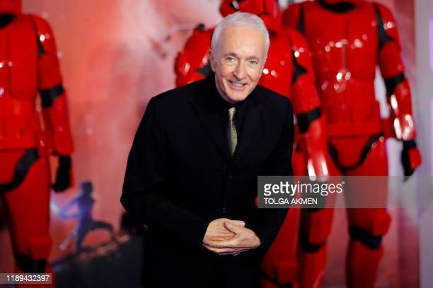 British actor Anthony Daniels poses on the red carpet upon arrival for the European film premiere of Star Wars The Rise of Skywalker in London on...