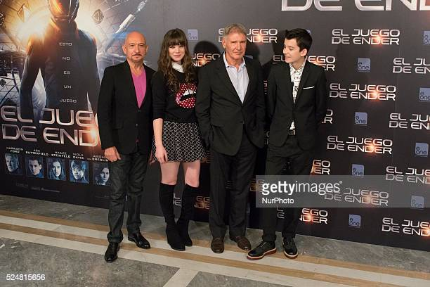 British actor Ben Kingsley US actress Abigail Breslin US actor Harrison Ford and British actor Asa Butterfield pose during a photocall for the film...