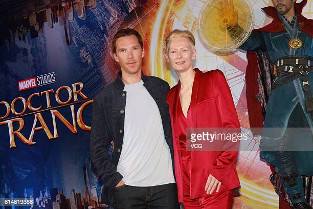 British actor Benedict Cumberbatch and British actress Tilda Swinton attend press conference of film Doctor Strange on October 13 2016 in Hong Kong...