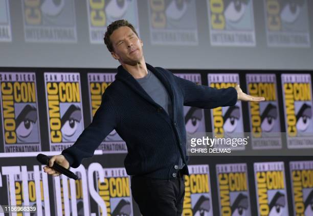 British actor Benedict Cumberbatch reacts on stage as the crowd sings Happy Birthday to him during the Marvel panel in Hall H of the Convention...