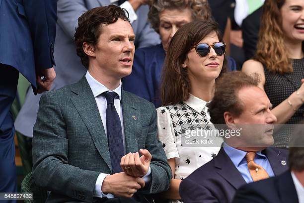 British actor Benedict Cumberbatch sits next to his wife Sophie Hunter in the royal box on centre court before the men's singles final match on the...
