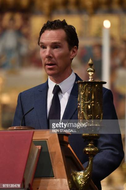 British actor Benedict Cumberbatch speaks at a memorial service for British scientist Stephen Hawking during which his ashes will be buried in the...