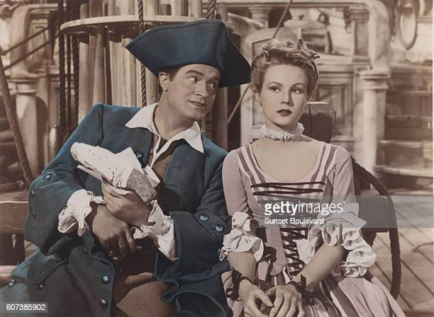 British actor Bob Hope and American actress Virginia Mayo as Sylvester the Great and Princess Margaret on the set of The Princess and the Pirate...