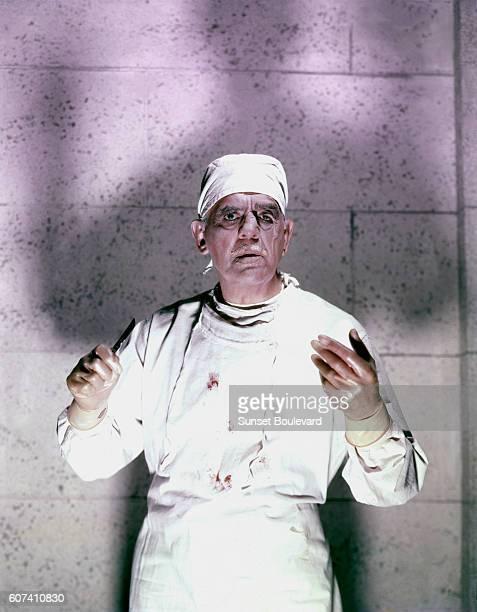 British actor Boris Karloff on the set of Frankenstein 1970 directed by Howard W Koch
