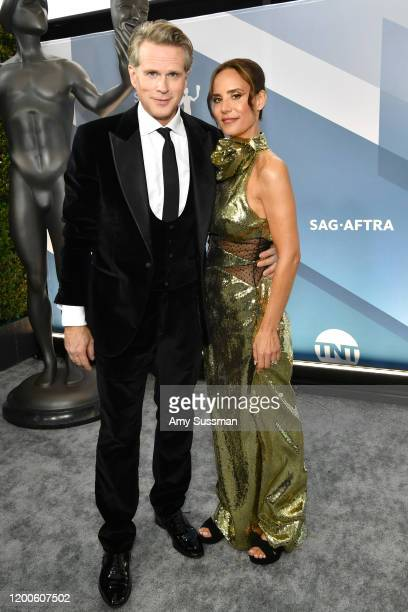 British actor Cary Elwes and Lisa Marie Kubikoff attend the 26th Annual Screen ActorsGuild Awards at The Shrine Auditorium on January 19, 2020 in...