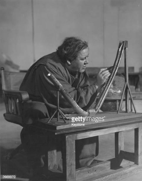 British actor Charles Laughton in the title role of Bertolt Brecht's play 'Galileo' directed by Joseph Losey at the Coronet Theatre