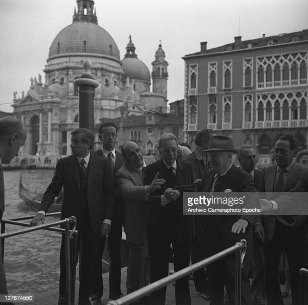 British actor Charlie Chaplin arriving at the hotel Venice 1972