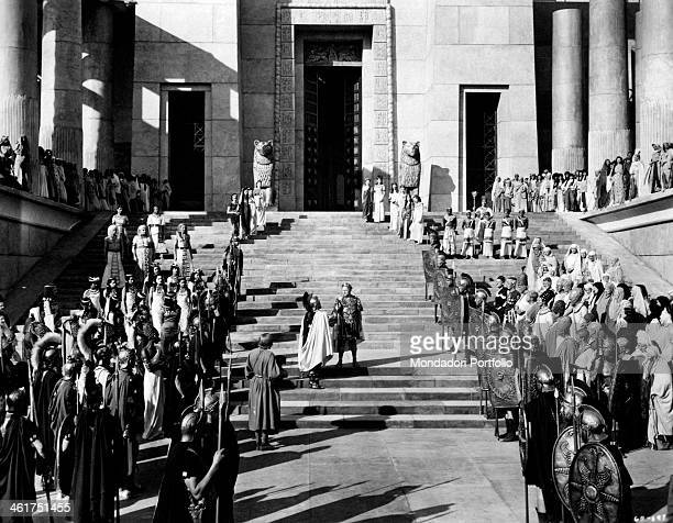 British actor Claude Rains as Caesar meeting British actor Basil Sydney on a staircase in the film Caesar and Cleopatra Great Britain 1945
