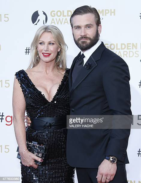 British actor Clive Standen and his wife Francesca pose during the closing ceremony of the 55th MonteCarlo Television Festival on June 18 in Monaco...