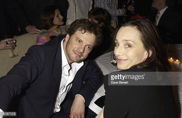 """British actor Colin Firth and British actress Kristin Scott Thomas attend the after party for the UK premiere of the film """"Hope Springs"""" held at the..."""