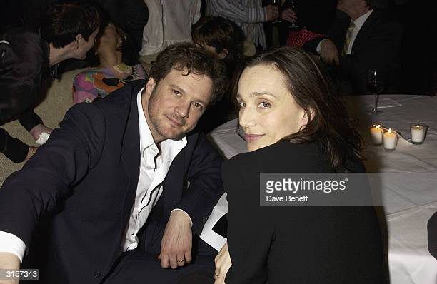 """British actor Colin Firth and British actress Kristin Scottm Thomas attend the after party for the UK premiere of the film """"Hope Springs"""" held at the..."""
