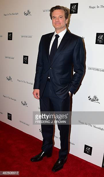 British actor Colin Firth poses on arrival for a Los Angeles Special Screening of the Woody Allen film Magic in the Moonlight in Hollywood on July 21...