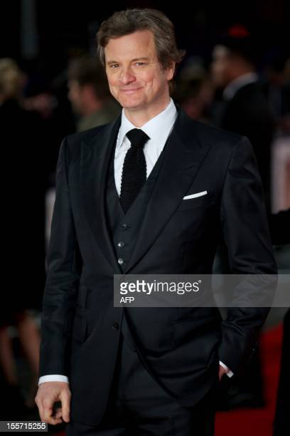 British actor Colin Firth poses on the red carpet as he arrives to attend the World Premier for the film 'Gambit' in Leicester Square central London...